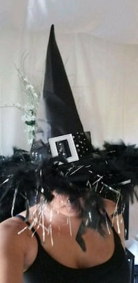 Large Feathered Fashion Witch Hat 38 km