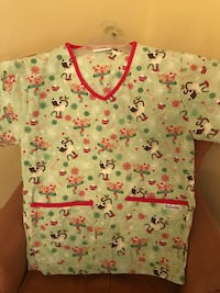 Green and red Christmas holiday scrub shirt West Chicago, 60185
