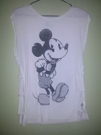 white and black Mickey Mouse print tank top