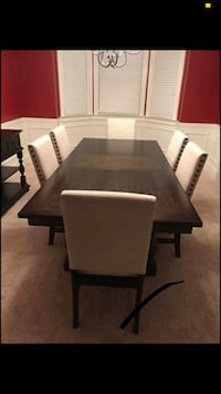 Dining table with six chairs, leaf extension and buffet Blythewood