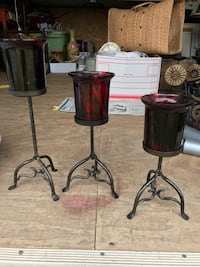 3 pieces candlesticks matching red and black Bakersfield, 93308