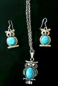 Silver Owl Necklace and Earrings w/ Turquoise Mableton, 30126