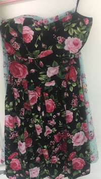 Black and pink (blue and pink) floral scoop-neck sleeveless dress