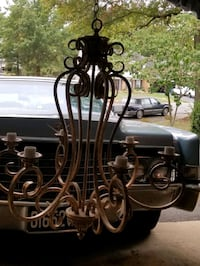 Gorgeous large, heavy weight, gold luxury Chandelier plus 5 globes. Sterling, 20165