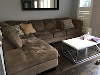 Brown suede sectional sofa Pickering, L1V 2W1