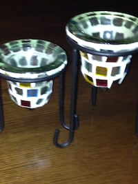 Two stained glass,  multi colour,   candle  holders.
