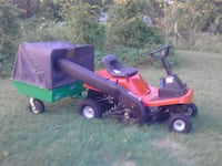 Lawn mower and power flow bagger and cart