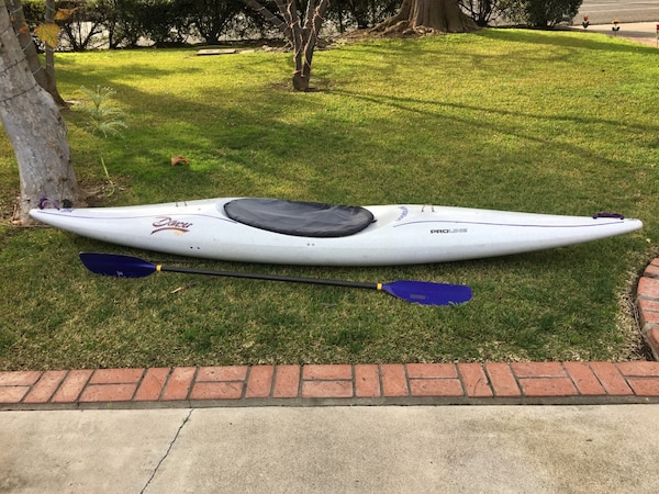 Proline Perception Dancer kayak with oar, 2 water bags, a vest size medium,  a dry sack, a spray skirt and a mesh bag  Kayak has a seat