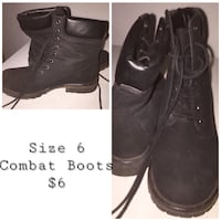 pair of size 6 black suede work boots collage