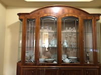 Georgous Antique Brown wooden framed glass display cabinet Vaughan