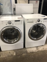 ❥LG Gad dryer and washer set. White and stainless. Used. - Seaford