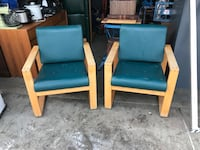 Two Leather and wood chairs  Edmonton, T5M 2P2
