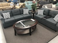 New Couch Sofa Set with Console USB Port. Blue Grey. Free Delivery ! Culver City