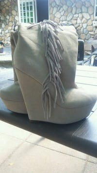 pair of gray suede chunky heeled booties Abbotsford, V2S 3C2