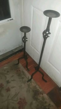 2 Black Wrought Iron Floor Candles holder's