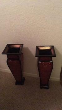 two brown wooden candle holders Clearwater, 33759