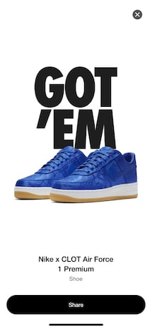 Air Force 1 Clot size 11 limited