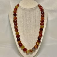 Natural Hematoid Quartz Crystal Bead Necklace with Sterling Clasp Chantilly, 20151