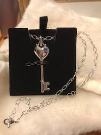 Pretty! Silver Heart Key Necklace with tiny blue Crystal Stone  Gainesville, 20155