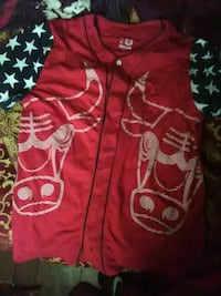 red and white zip-up hoodie