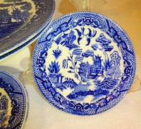 Blueware Plates: 'Willow' Design by Churchill of Staffordshire, Japan Edmonton