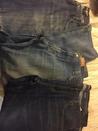 Stylish men's jeans lot (3) 38x30 or 32. Excellent condition- the Lucky Brand jeans are originally distressed. Great deal price is firm. Gulf Breeze, 32561