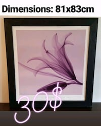 white and pink abstract painting with black wooden frame Boisbriand, J7G 3G3