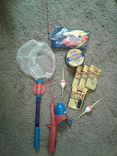Kids fishing set pole and net are spiderman in tucson letgo for Spiderman fishing pole
