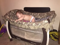 baby's brown and white travel cot Liberty, 64068