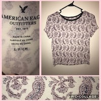 size small beige floral American Eagle T-shirt collage 38 mi
