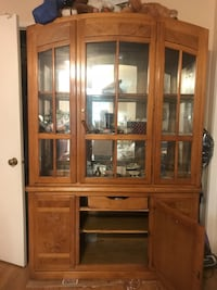 brown wooden framed glass display cabinet Los Angeles, 91601