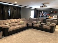 Black and Grey Microfiber And Leather Reclining sectional- Seats 6 Spokane, 99208