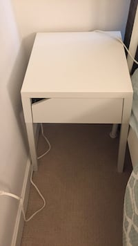White wooden 2-drawer nightstand