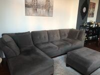Gray suede sectional sofa with throw pillows Arlington, 22204