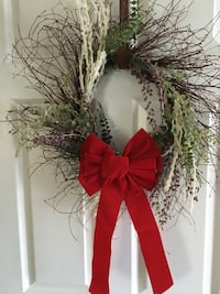 "Wreath with or without red bow, 24"" wide diameter, custom made -  $50 Mississauga, L5L 5P5"