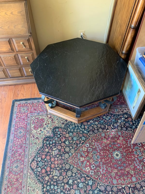 Slate and wrought iron  coffee table good condition a9bbf81e-710d-4918-a6d7-d121d0d017dc