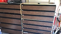 Brown and black wooden 3-drawer chest
