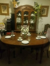 table, chairs, and Cabinet, Glasses,  silverware Franklin, 02038