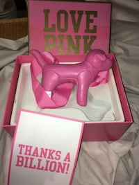 Pink victoria's secret dog leather  plush toy in box Manassas, 20110