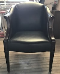 HBF Black Leather Armchairs with wood accents - 7 chairs