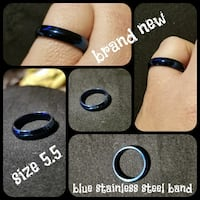 Iridescent blue stainless steel ring band