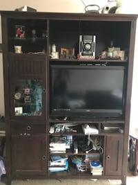 brown wooden TV hutch WASHINGTON