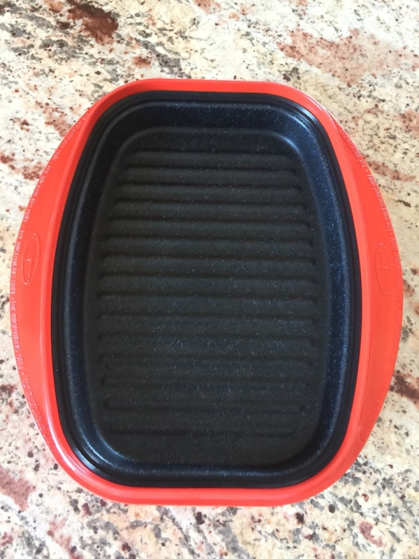 Reheatza, cooks in microwave, wipes clean.  Purchased at Bed, Bath & Beyond for $39.99.  Then was given one by my daughter.  No box