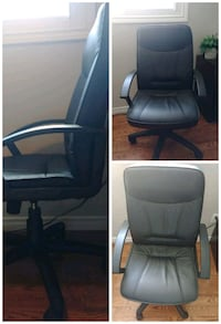 black leather padded rolling armchair Guelph, N1K 1J9