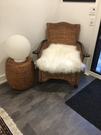 Brown and white wooden armchair Vaughan, L0J 1C0