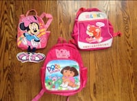 children's three assorted character printed backpacks