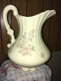 White and pink floral ceramic pitcher Tamaqua, 18252