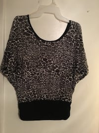 women's black and white leopard printed scoop-neck top Chico, 95928