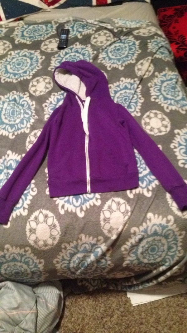 purple and white zip-up hoodie