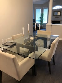 West Elm glass dinning table